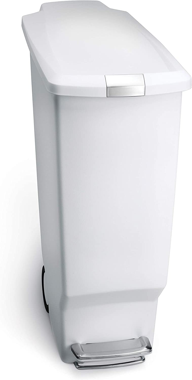 simplehuman 40 Liter / 10.6 Gallon Slim Kitchen Step Trash Can, White  Plastic With Secure Slide Lock