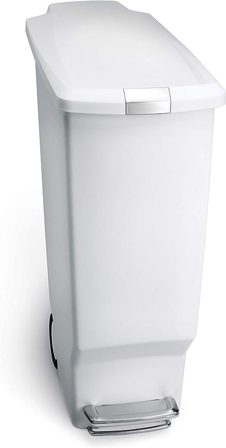 simplehuman 40 Liter Black Plastic Bin With Secure Slide Lock 10.6 Gallon Slim Kitchen Step Trash Can