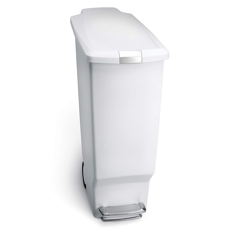 Simplehuman 40 Liter 10 6 Gallon Slim Kitchen Step Trash Can White Plastic With Secure Slide Lock