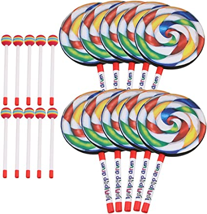 10Pieces 7.9 Inch Lollipop Shape Drum Percussion Education Toys for Kids