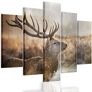 Hirsch Wälder Leinwand-Bilder Wandbild Druck auf Canvas XXL Druck Kunstdruck