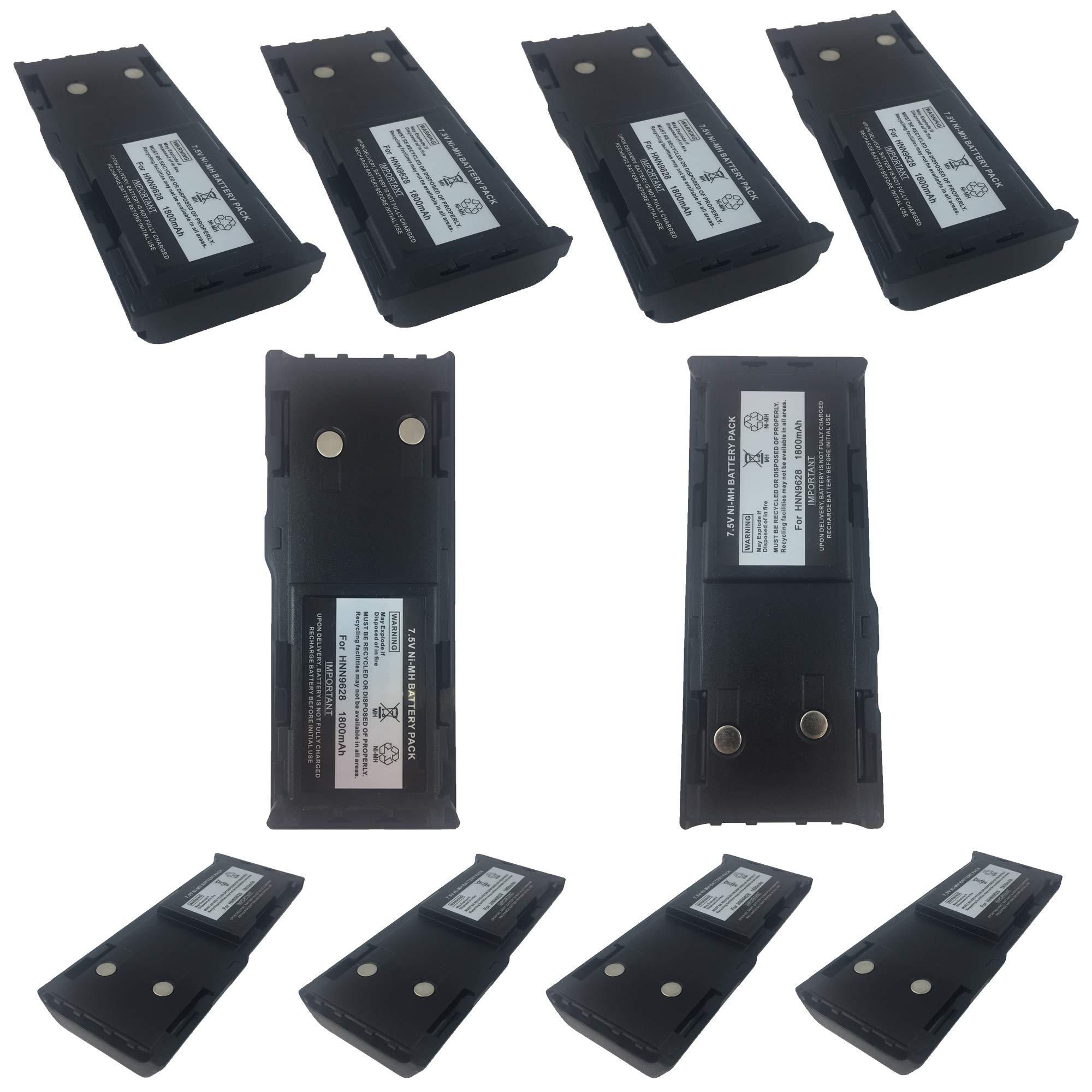 ProMaxPower 1800mAh 7.5V HNN9628 Battery for Motorola GP88 GP600 GP300 GTX800 PTX600 MTX638 (10-Pack) by ProMaxPower