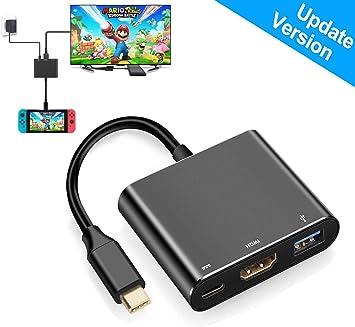 Adaptador HDMI para Nintendo Switch,1080P HDMI Conversor Tipo C Hub Dock para Interruptor, Negro: Amazon.es: Electrónica