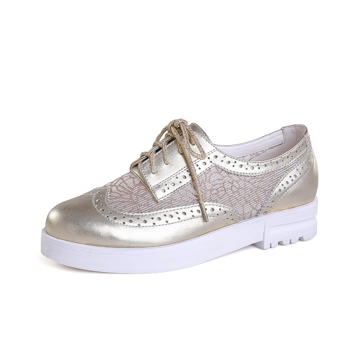 MINIVOG Women's Brogue Low Heel Walking Shoes for Travel Gold 5.5 by MINIVOG