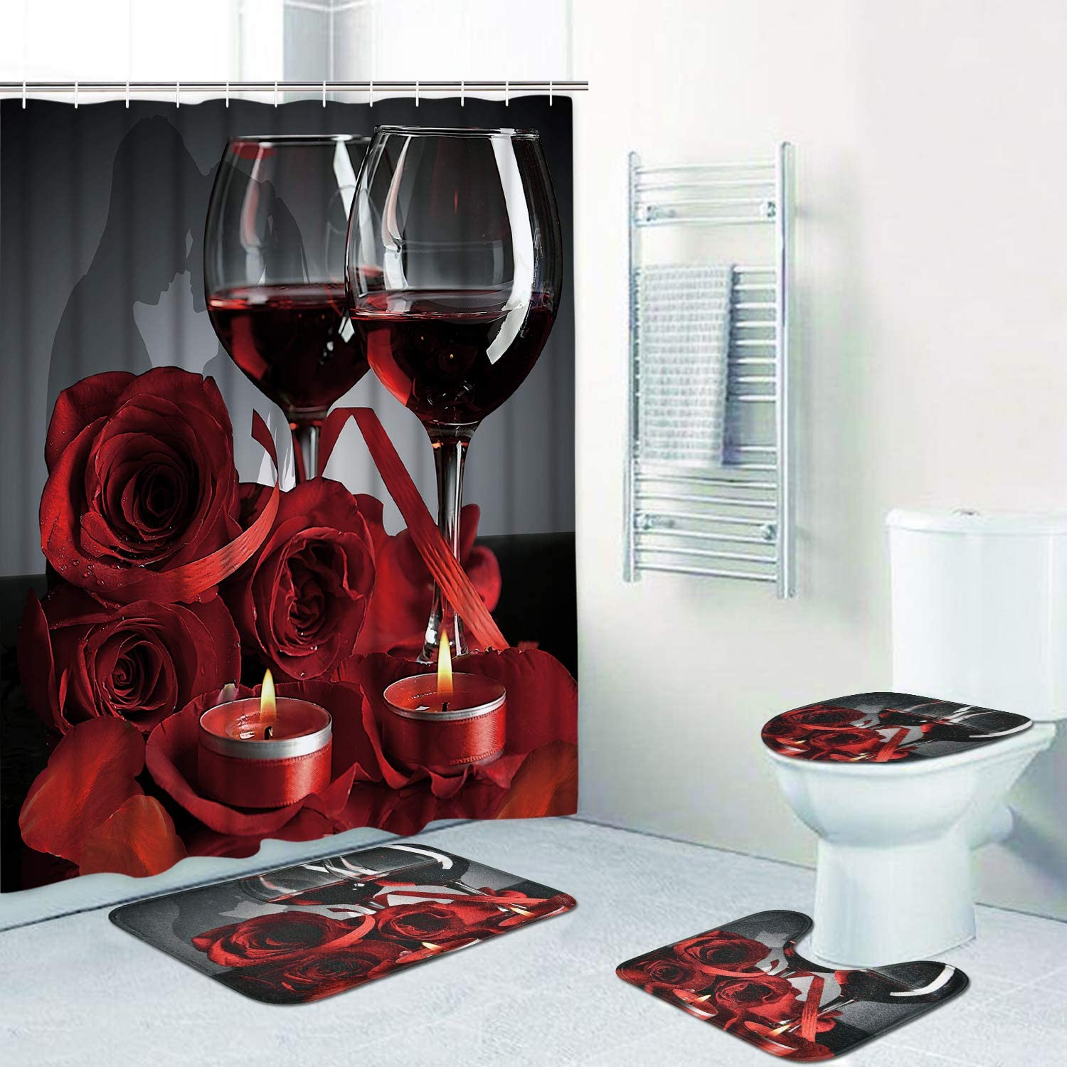 Alishomtll Valentines Shower Curtain Romantic Red Rose Flowers and Wine  Shower Curtain Sets with Non-Slip Rug, Toilet Lid Cover, Bath Mat and 10