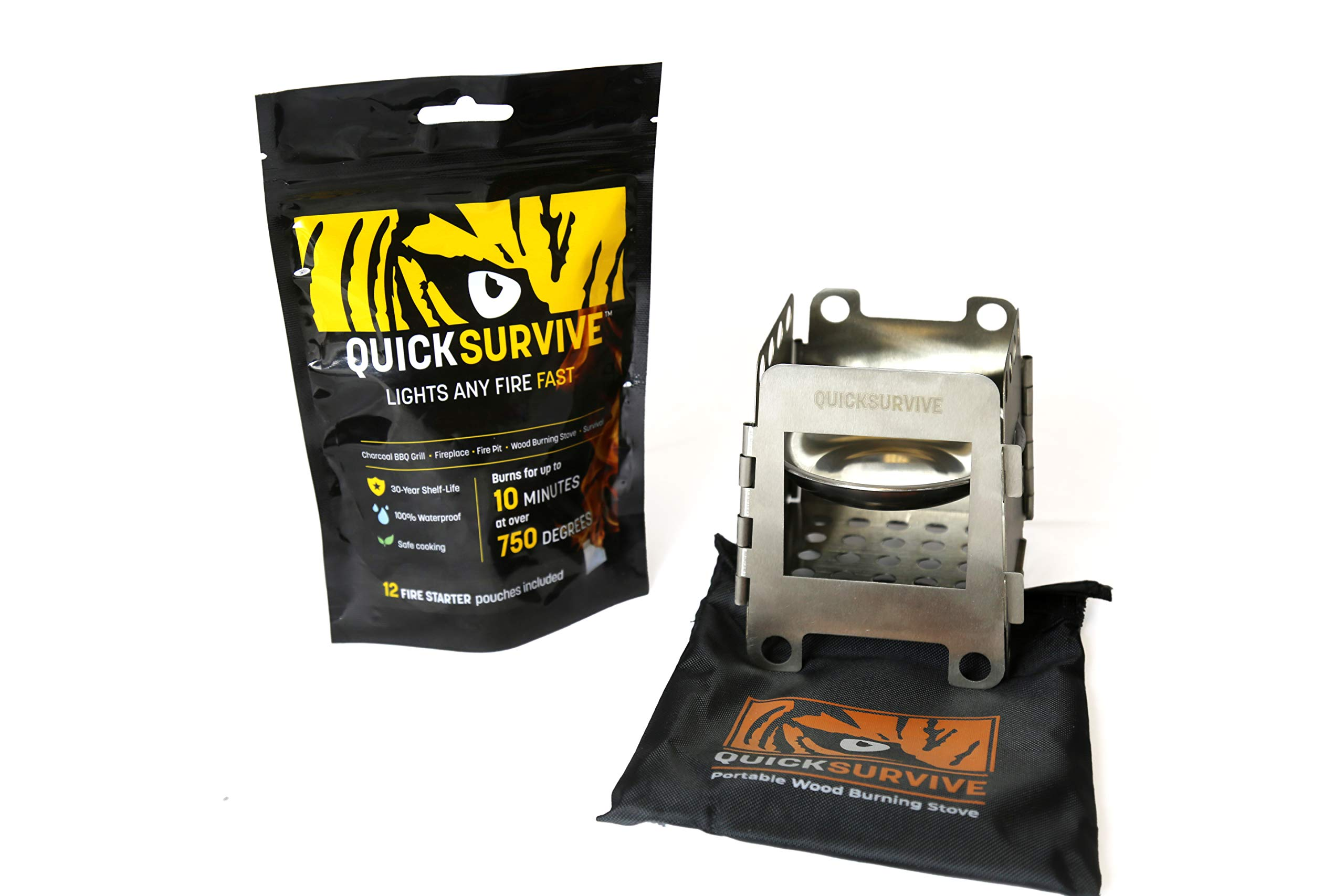 QUICKSURVIVE Mini Survival Wood Burning Stove and All-Purpose Fire Starters (Stove + 12 Fire Starters) by QUICKSURVIVE