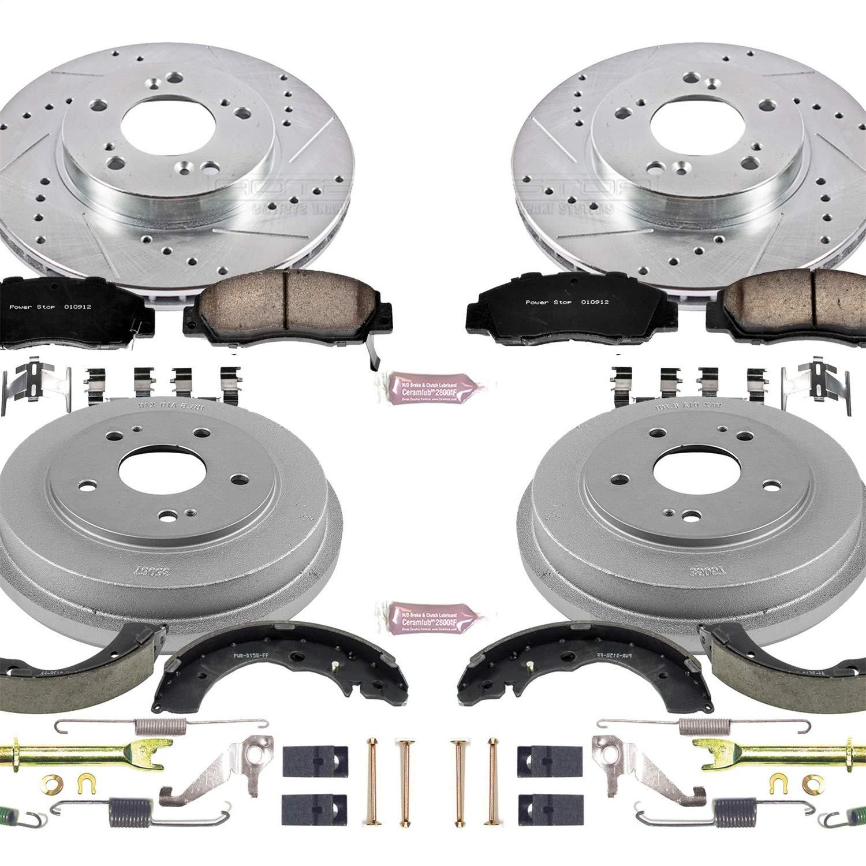 Power Stop K15114DK Front /& Rear Brake Kit with Drilled//Slotted Brake Rotors and Z23 Evolution Ceramic Brake Pads