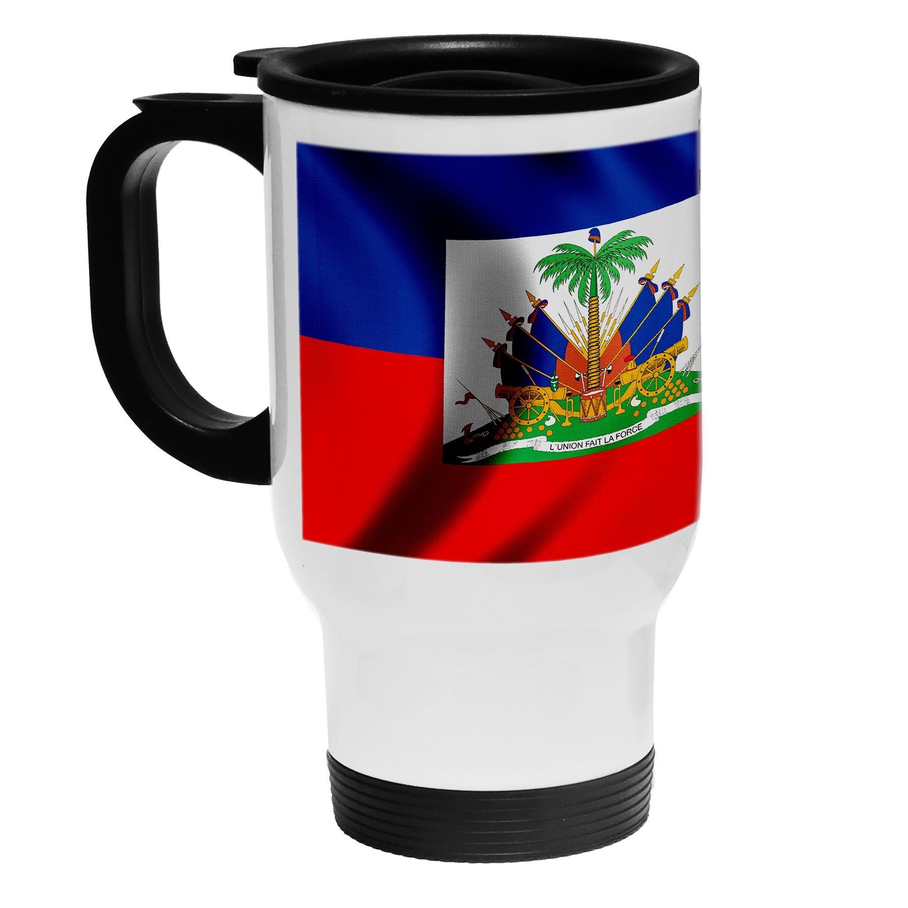 White Stainless Steel Coffee / Travel Mug - Flag of Haiti (Haitian) - Wood/USA