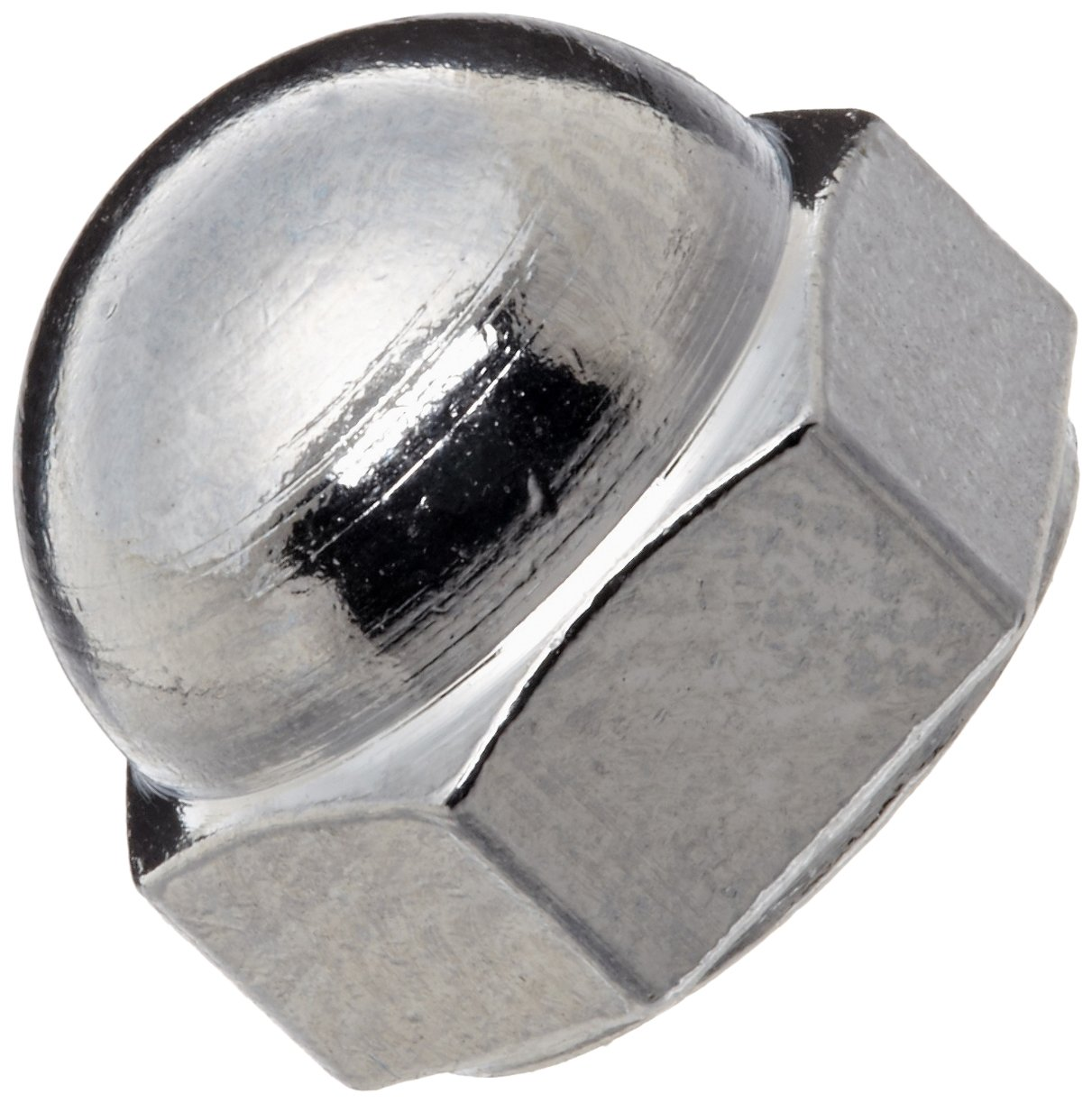 Chrome-Plated Brass Acorn Nut, Extra Low Crown, USA Made, 1/4''-20 Thread Size, 7/16'' Width Across Flats, 3/8'' Height, 7/32'' Minimum Thread Depth (Pack of 10)