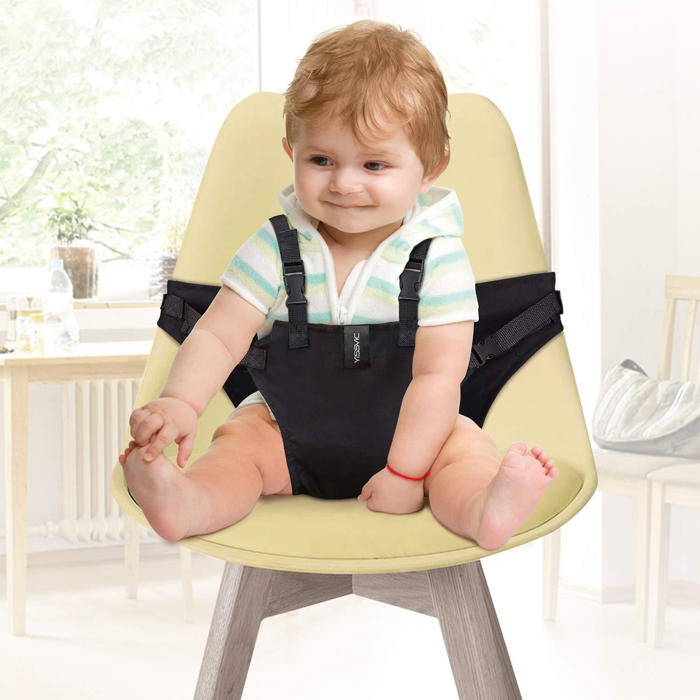Yissvic Tragbare Hochstuhl Babysitz Esszimmerstuhl Sicherheitsgurt für Baby Kleinkind schwarz Whit Direct