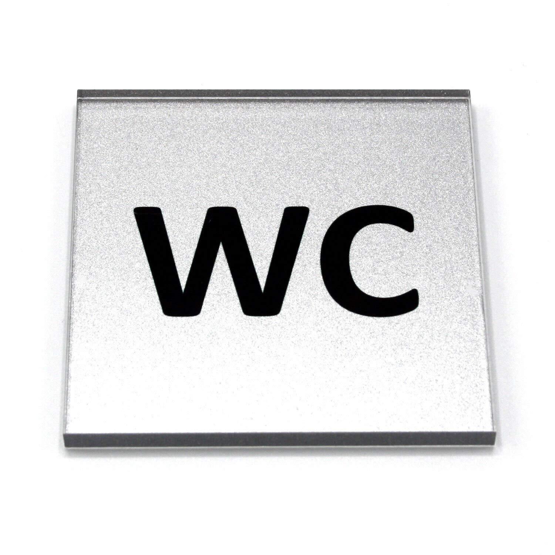Cartel para inodoro de vidrio acrílico, 8 x 8 cm, con texto ...