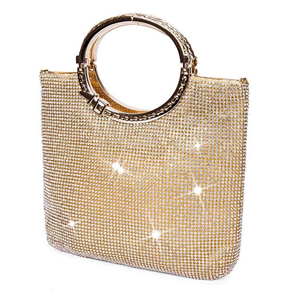 P&R Luxury Full Rhinestones Women's Fashion Evening Clutch Bag Party Prom Wedding Purse - Best Gife For Women (Gold)