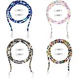 TOYMIS 4Pcs 20 Inch Face Cover Holder Beaded Necklace for Mask, Multicolor Beads Eyeglass Holder for Mask Strap Extender…