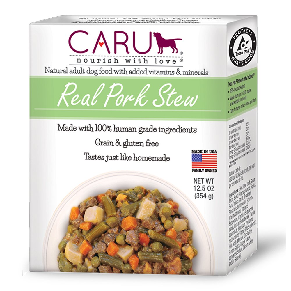 Caru - Real Pork Stew for Dogs, Natural Adult Wet Dog Food with Added Vitamins and Minerals, Free from Grain, Wheat and Gluten (12.5 oz)