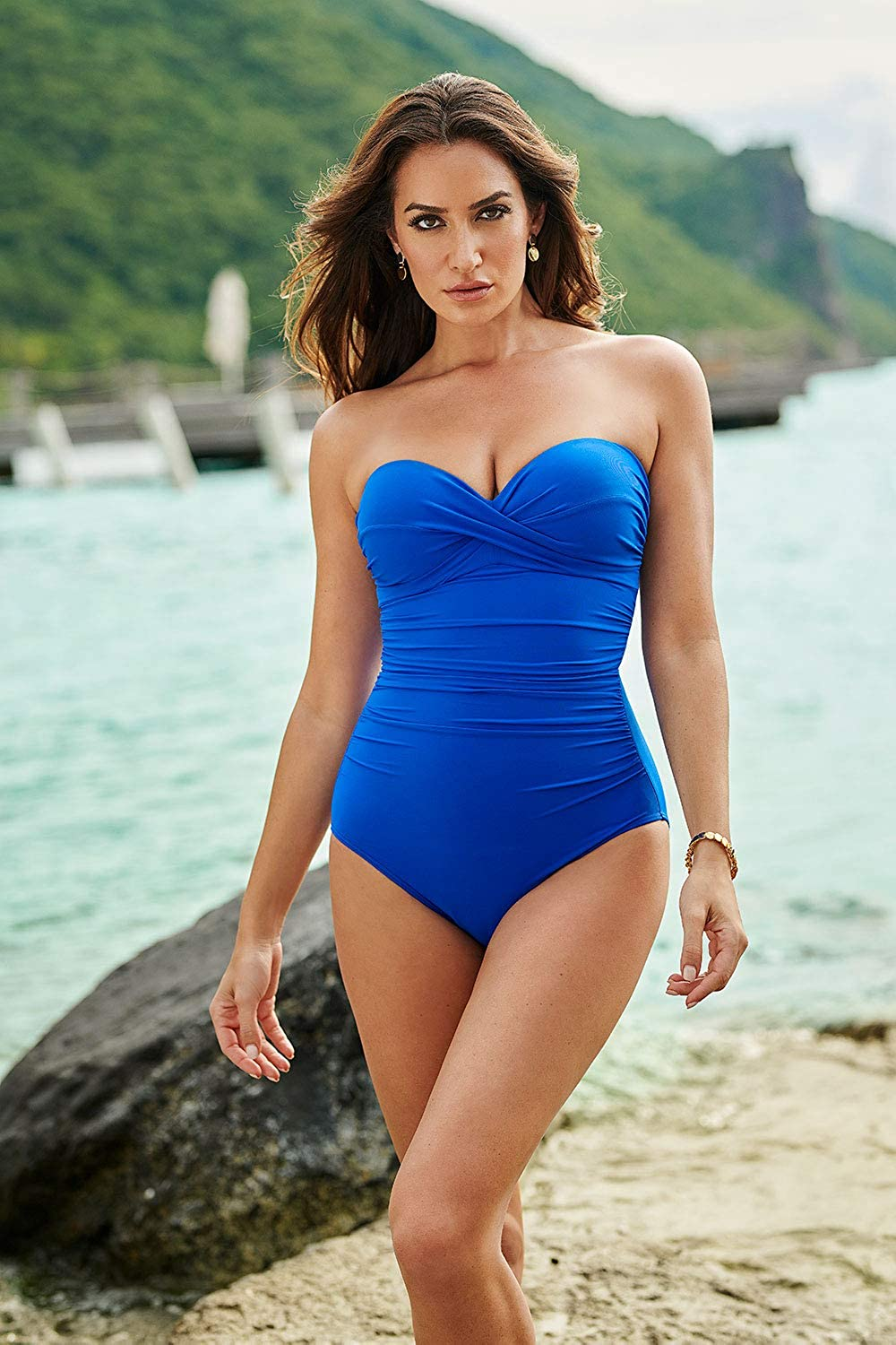 Miraclesuit Womens Swimwear Rock Solid Madrid Bandeau Neckline Underwire Strapless One Piece Swimsuit with Detachable Straps