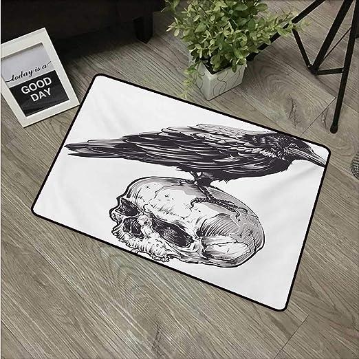Anzhutwelve - Felpudo con diseño de pájaro Sentado sobre un cráneo ...