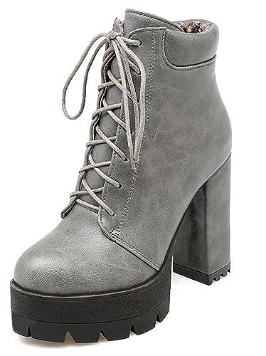 512c4b9db32a0d YE Damen Chunky High Heels Plateau Stiefeletten mit Blockabsatz Zum  schnüren 11cm Absatz Ankle Boots