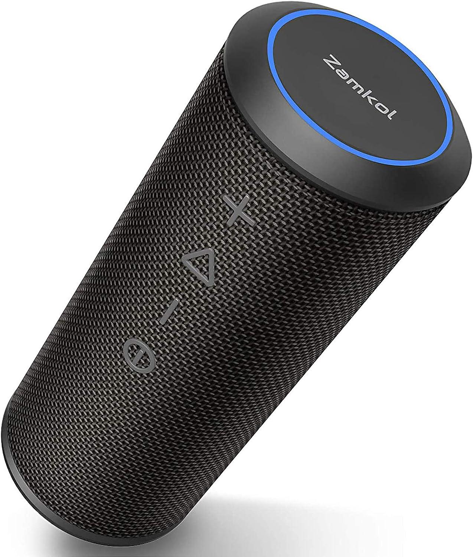 ZamKol ZK606 Bluetoothスピーカー ワイヤレススピーカー ブルートゥーススピーカー 24W出力【TWS対応/デュアルドライバー/360°ステレオ重低音/IPX6防水/内蔵マイク/15時間連続再生/ハンズフリー】ポータブルスピーカー アウトドア iPhone & Android対応 (ブラック)