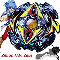 Urcara Bey Burst Gyro Battling Top B-59 Beyblade Burst Stamina Starter Zillion I.W. Zeus with Launcher Spinning Top + B-40 Launcher Grip Set (Black)