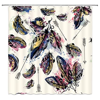 BCNEW Feather Shower Curtain Decor Colorful Feathers Arrows Alabaster Background 70 X Inches