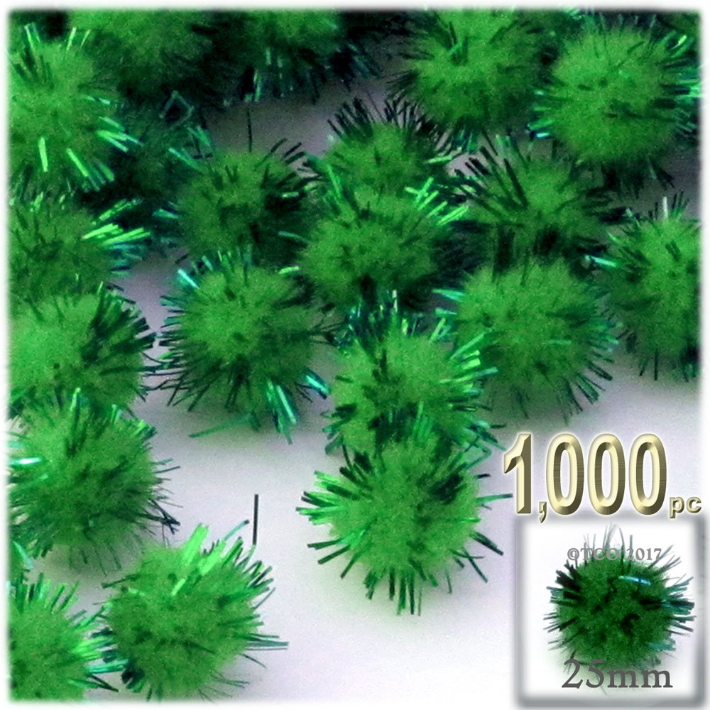 The Crafts Outlet Chenille Sparkly Pom Poms, Green porcupine, 1.0-inch (25-mm), 1000-pc, Emerald Green