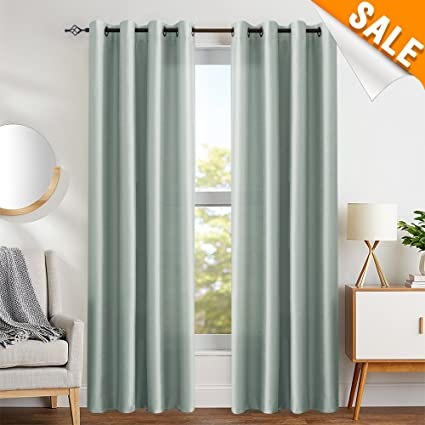 Amazon Com Gray Faux Silk Satin Curtains 95 Inch Length For Bedroom