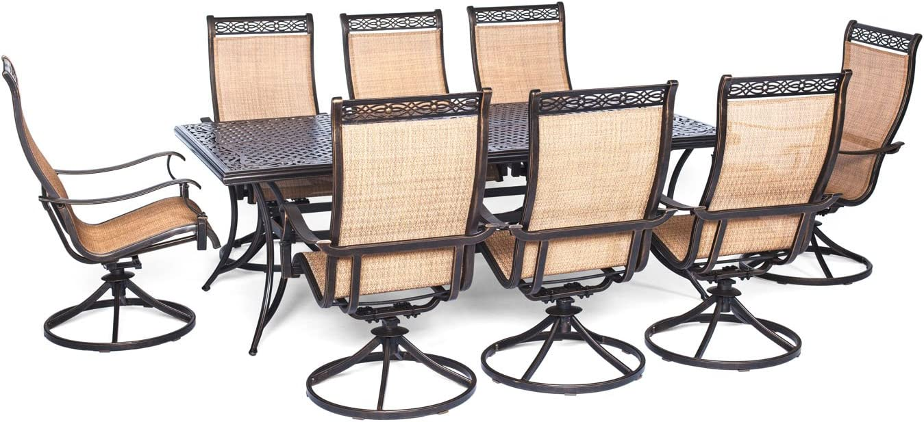 Hanover MANDN9PCSWSQ-8 Manor 9 Piece Dining Set with Large Square Table and Eight Swivel Rockers Outdoor Furniture, Brown