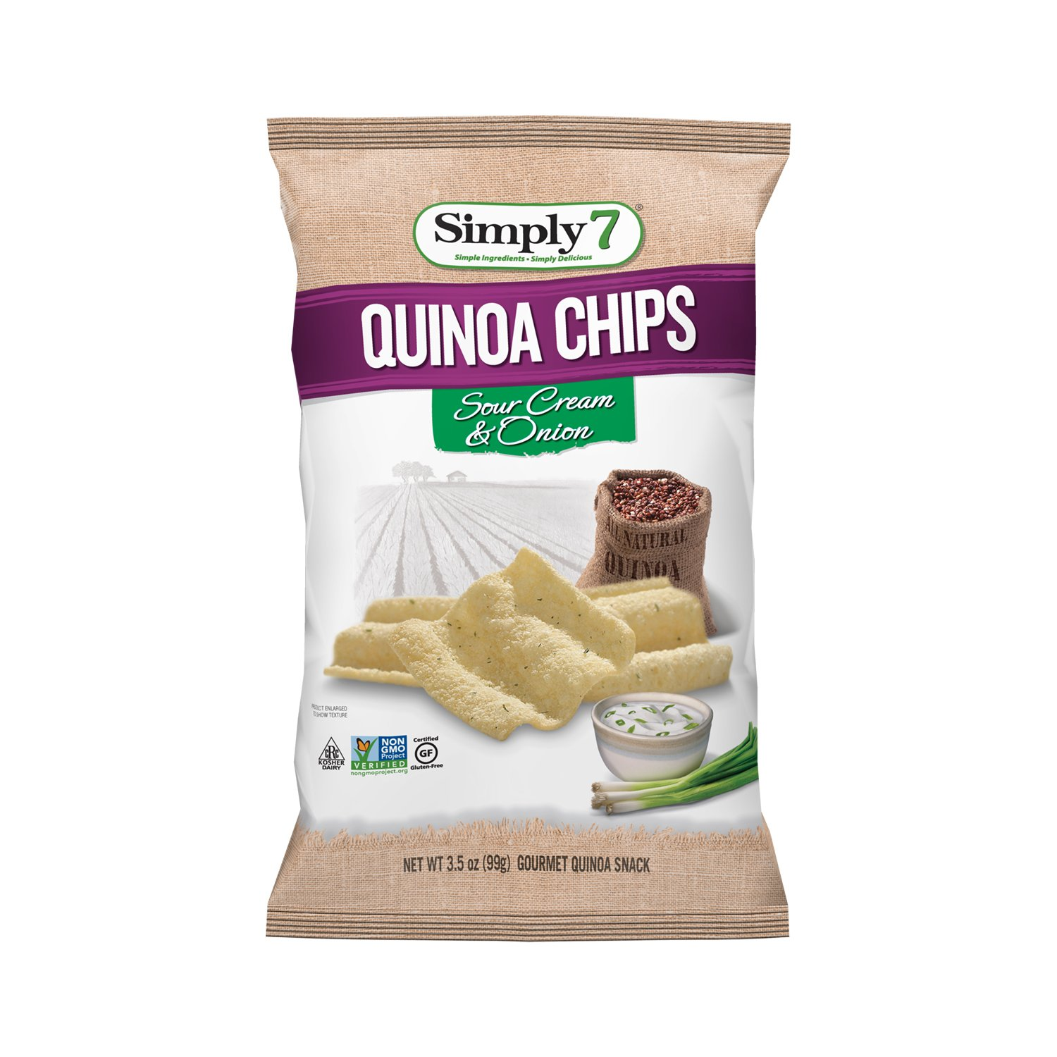 Simply7 Quinoa Chips, Sour Cream & Onion, 3.5-ounce bags (Pack of 12)