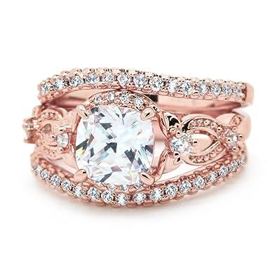 Amazon.com: Juego de anillos de boda 3 piezas Cojín CZ Wave ...