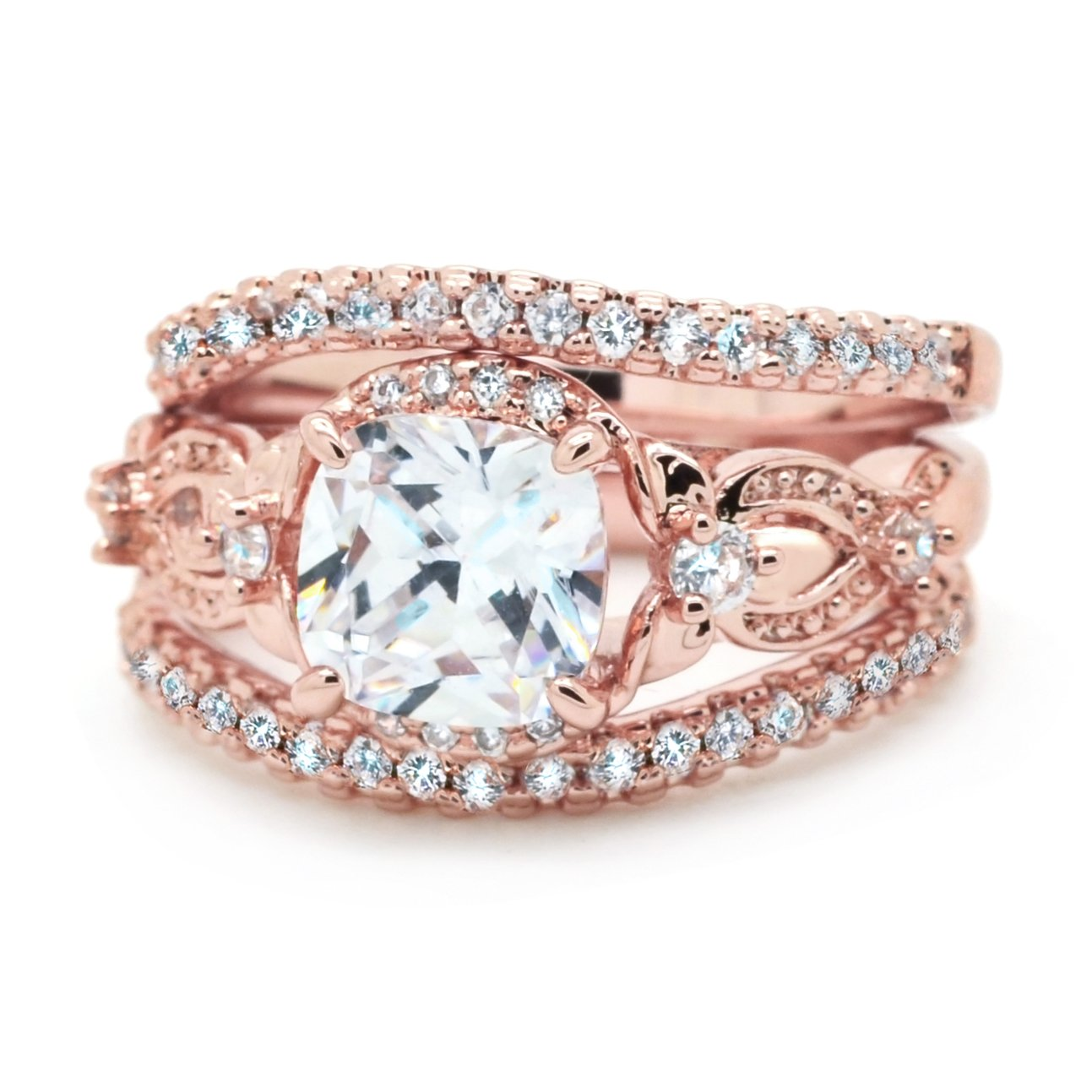 Sparkly Bride Wedding Ring Set 3 Piece Cushion CZ Wave Band Rose Gold Plated Flower Side Stone Size 7