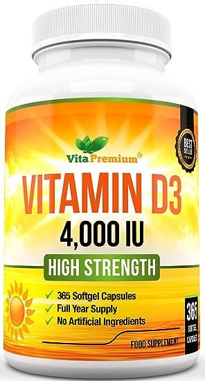 Cápsulas Blandas de Vitamina D3 365 (Suministro de un año), Suplemento de Vitamina D 4000 UI, Alta Absorción, Colecalciferol, de VitaPremium: Amazon.es: ...