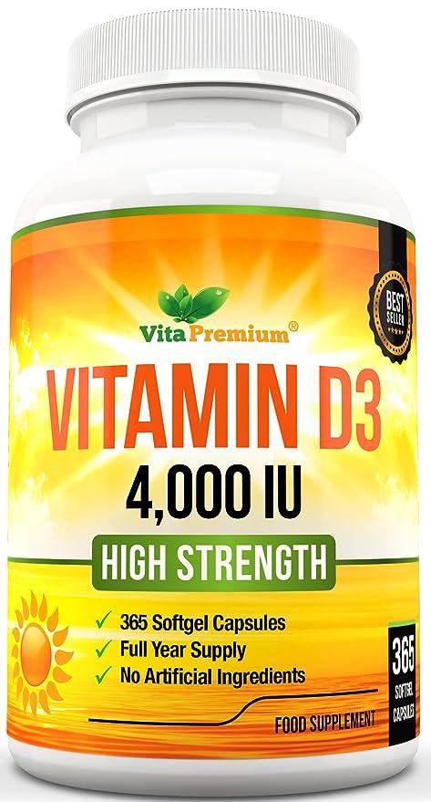 Cápsulas Blandas de Vitamina D3 365 (Suministro de un año), Suplemento de Vitamina