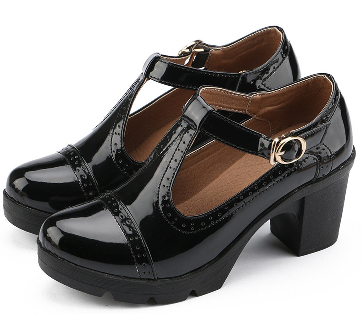 DADAWEN Women's Classic T-Strap Platform Mid-Heel Square Toe Oxfords Dress Shoes Black US Size 6