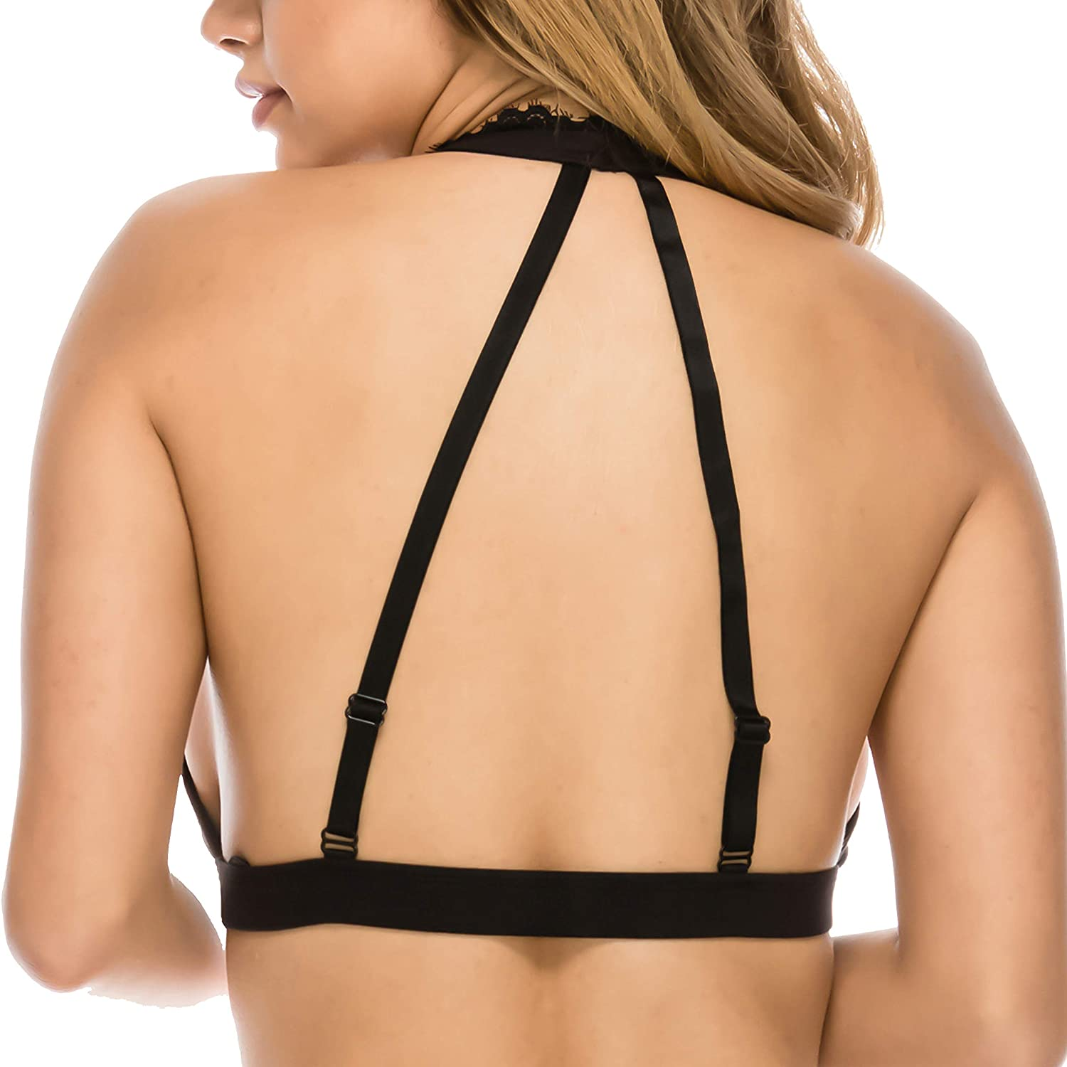 13638546696a06 Brushed Microfiber Bralette Elastic Band Triangle Halter Bra at Amazon  Women s Clothing store