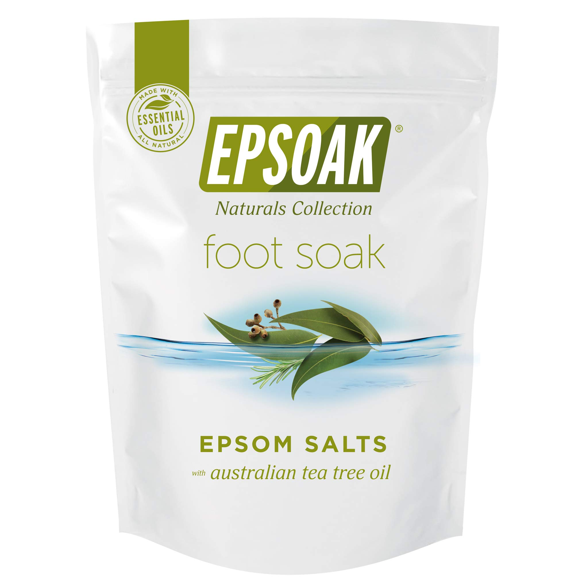 Tea Tree Oil Foot Soak with Epsoak Epsom Salt - 2 POUND Value Bag - Fight Bacteria, Nail Fungus, Athlete's Foot, and Unpleasant Foot Odor by Epsoak