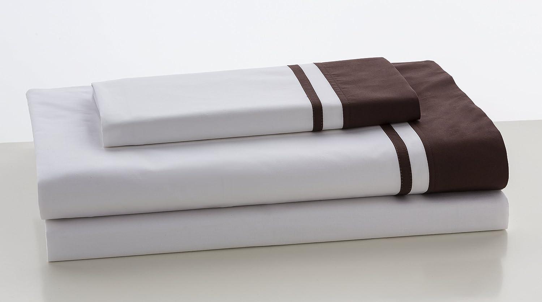 ESTELA - Juego de sábanas Lisos Marbella Color Chocolate - Cama de 105 cm (3 Piezas) - 100% Algodón - 200 Hilos - con Bajera Ajustable de 30 cm. de Altura.: Amazon.es: Hogar