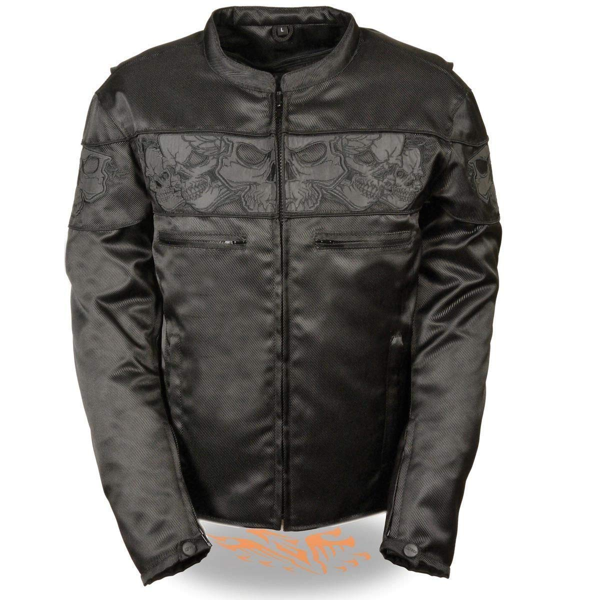 Milwaukee Leather Mens Reflective Skulls Black Textile Jacket with Gun Pockets - Small