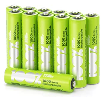 12 x Pilas Recargables AAA 100%PeakPower | Capacidad mínima garantizada 800 mAh NiMH | Pilas AAA recargables que vienen precargadas listas para usar | ...