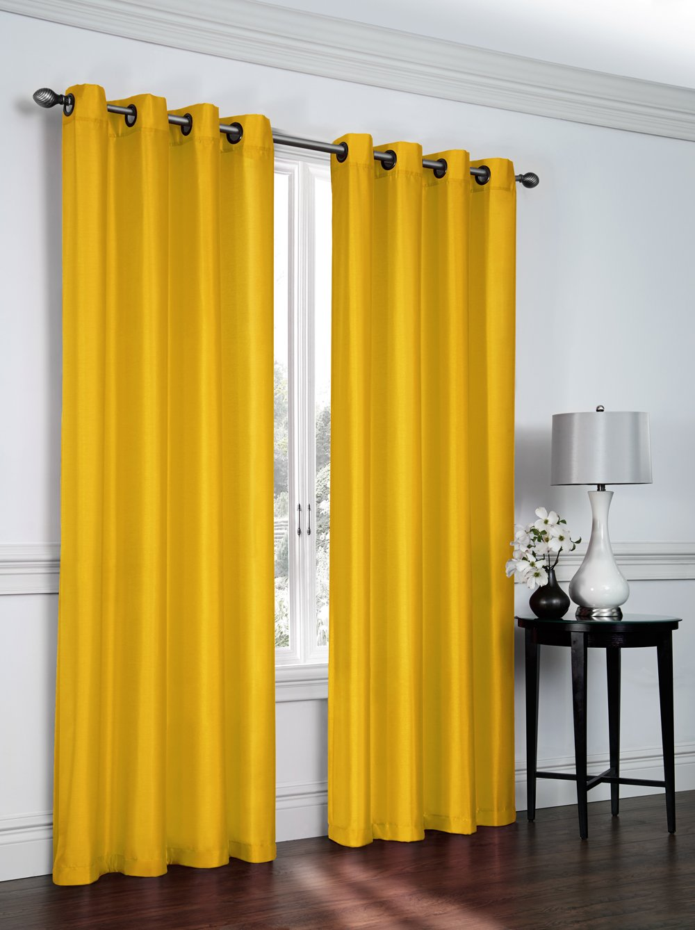 Faux Silk Grommet Curtain Panels Yellow