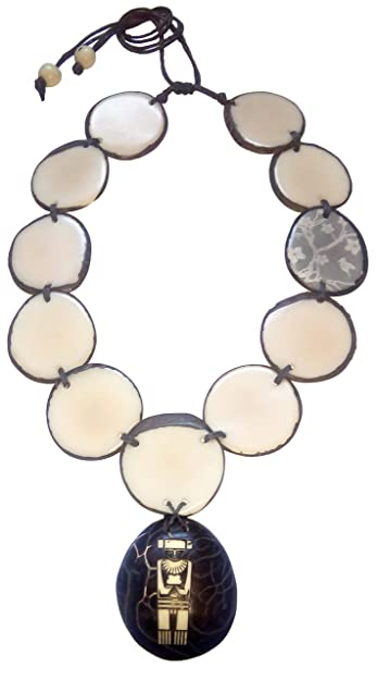 DAGUA Indigenous Ivory Palm (tagua Seed) Necklace Handmade in Colombia undyed Vegan Cruelty Free