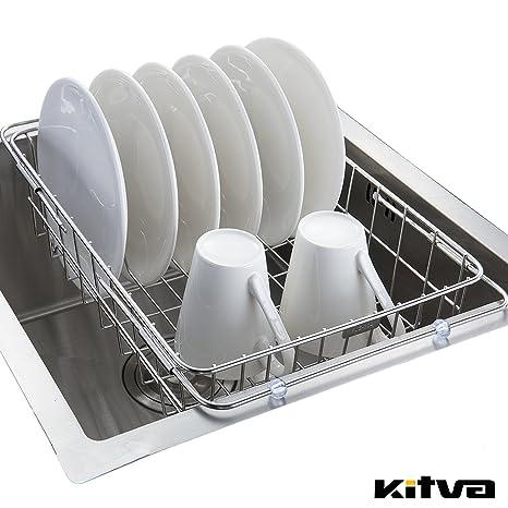 Kitva Scolapiatti Sgocciolatoio Portapiatti Estensibile Per Lavello Cucina  Design Moderno Metallo Acciaio Inox 304 Cestello Appoggio