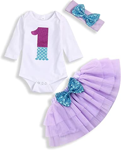 Baby Girls Mermaid Costume Romper Tutu Skirt Set Sequined Mermaid Romper Baby
