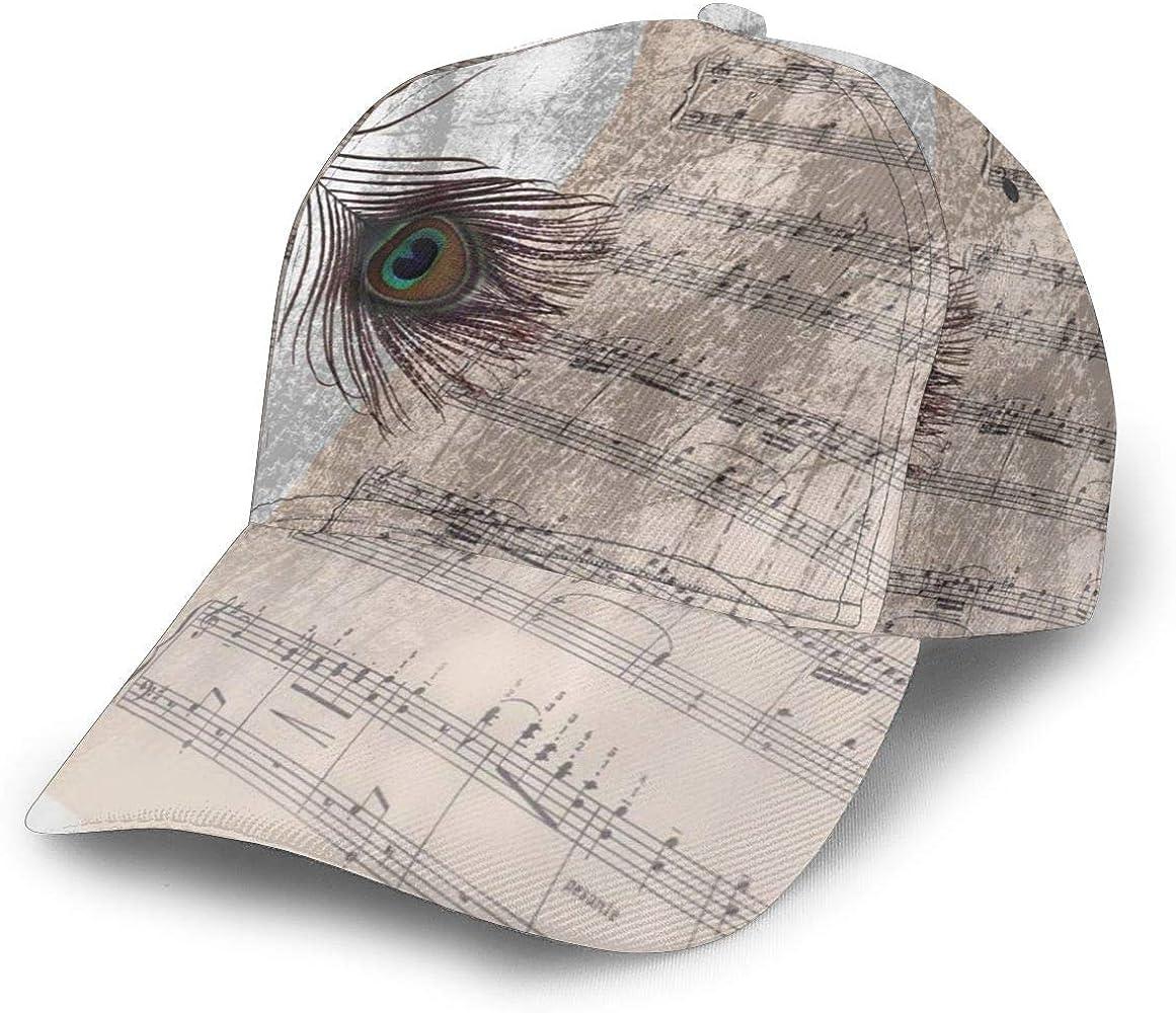 Gorra de béisbol con Notas Musicales Antiguas, Plumas de Pavo Real ...