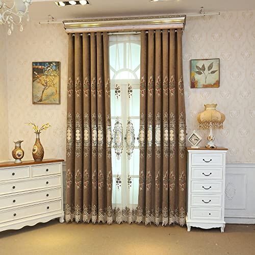 WPKIRA Grommet Semi Blackout Curtain 1 Panel Luxurious Embroidered Curtain