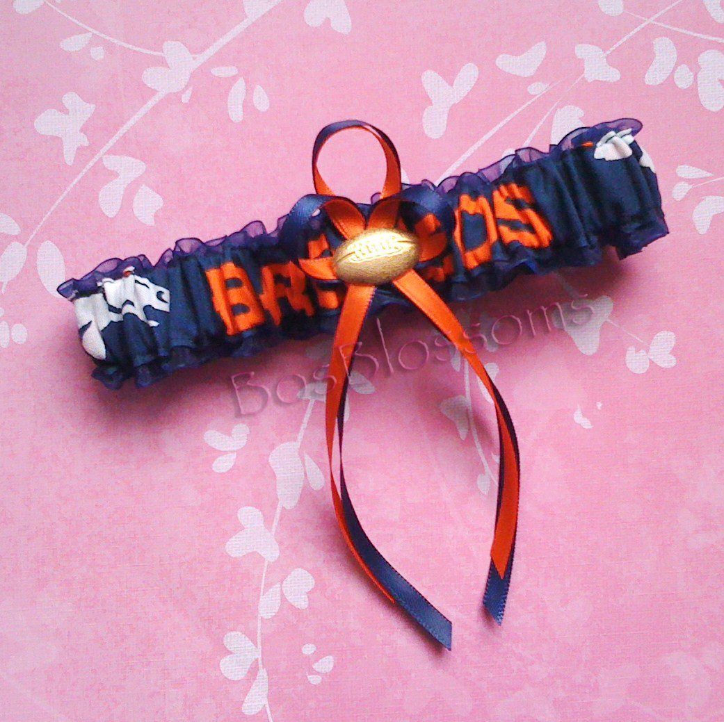 Customizable - Denver Broncos fabric handmade into bridal prom white organza wedding garter with football charm