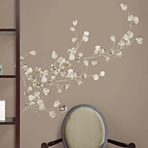 RoomMates Silver Dollar Branch Peel and Stick Giant Wall Decal,Multicolor