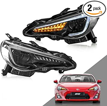 YUANZHENG Headlight Assembly Compatible for Totota 86 2013-2016 Scion FR-S 2017-2019 GT86 2013-2019 Subaru BRZ Plug-and-play Dual Beam LED Headlamp Assembly with DRL Sequential Turn Signal