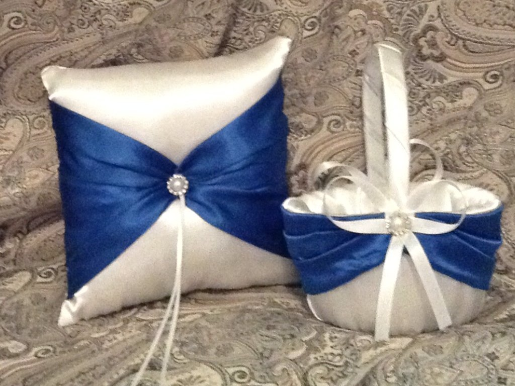 wedding white or ivory and navy blue ring bearer pillow and flower girl basket
