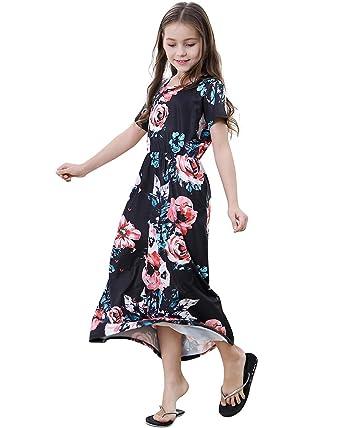 d9c499a75 WESIDOM Girls Floral Maxi Dress, Kids Short Sleeve Summer Long Casual  Dresses with Pocket Black