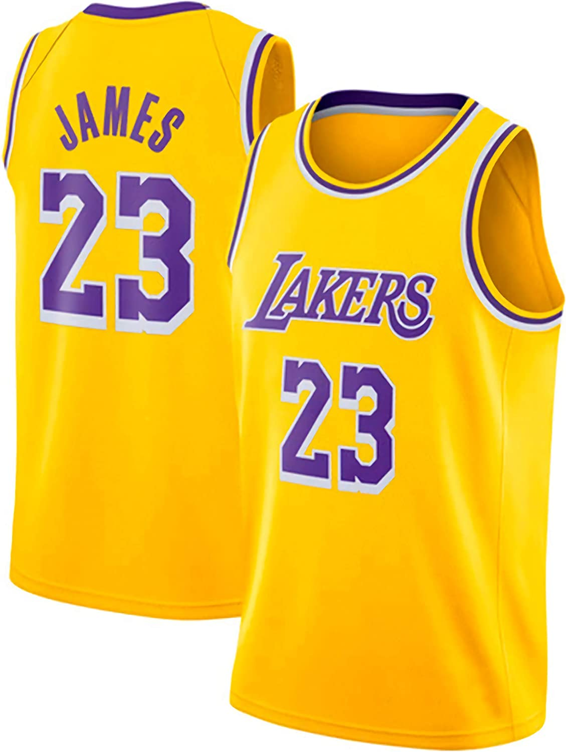 JINHAO Camiseta de Baloncesto Masculino NBA Lakers # 23 Lebron James Mesh Basketball Swingman Camiseta (Amarillo, Cuello Redondo, L): Amazon.es: Ropa y accesorios